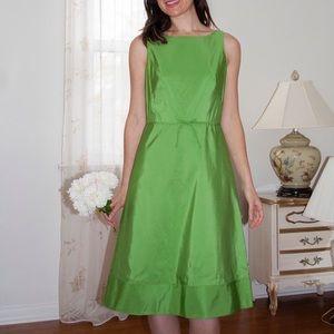 J. Crew Green Silk Taffeta A-line Dress